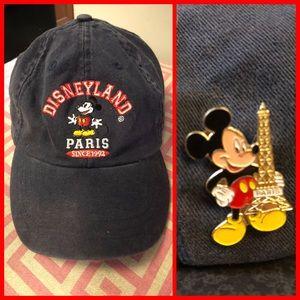 Disneyland Paris Baseball Hat with Mickey Pin